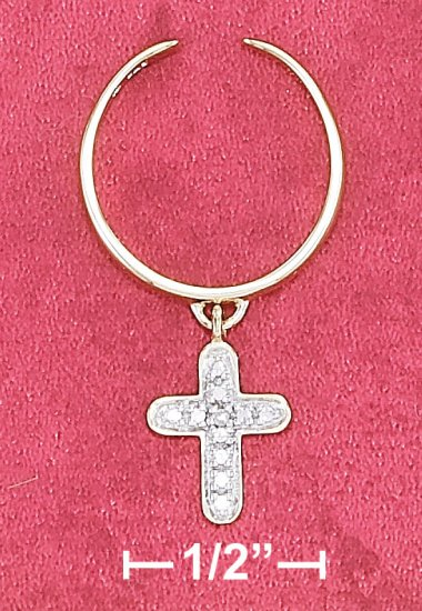 STERLING SILVER VERMEIL ADJUSTABLE TOE RING W/ ILLUSION CROSS DANGLE & GEN DIA CHIP
