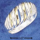 STERLING SILVER TWO TONE LARGE DOME-SHRIMP RING