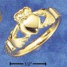 STERLING SILVER 14K GP UNISEX VERMEIL CLADDAH RING.