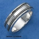 STERLING SILVER MENS SPINNER RING W/ KNURLED EDGE