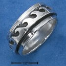 STERLING SILVER MENS ANTIQUED WAVE SPINNER BAND.