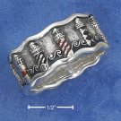 STERLING SILVER ANTQ UNISEX BAND W/ENAMELED LIGHTHOUSES & WAVES