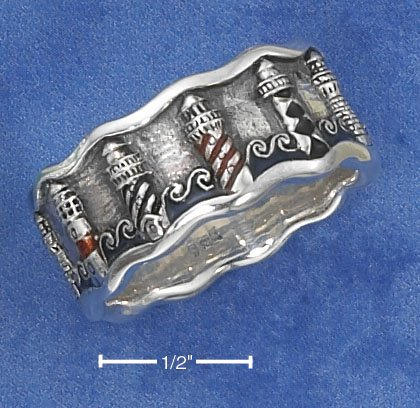 STERLING SILVER ANTQUED UNISEX BAND WITHENAMELED LIGHTHOUSES AND WAVES.