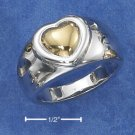 STERLING SILVER RING WITH 14K GOLD HEART ON 11MM HIGH POLISH TAPERED BAND .