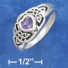 STERLING SILVER ANTIQUED 5MM AMETHYST HEART RING WITH CELTIC KNOTS ON EACH SIDE