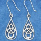 "STERLING SILVER ANTIQUED 7/8"" OVAL CELTIC SCROLLED DESIGN EARRING ON FRENCH WIRES"