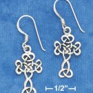 "STERLING SILVER ANTIQUED 7/8"" SCROLLED CELTIC DESIGN CROSS EARRING ON FRENCH WIRE"