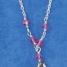 "STERLING SILVER 14""-16"" HP ADJ CABLE NECKLACE W/ HEART, FLOWER, BOW & PINK CRYSTALS"