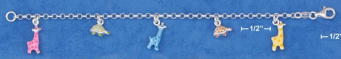 "STERLING SILVER 5.5"" ITALIAN CHILD'S ENAMEL GIRAFFES & TURTLES CHARM BRACELET"