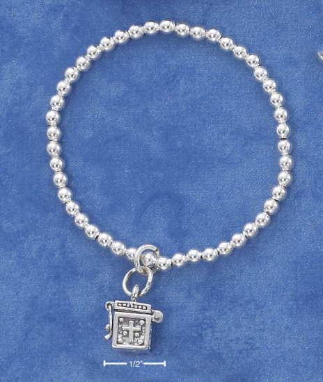 STERLING SILVER CHILDRENS 3MM BEADED STRETCH BRACELET WITH PRAYER BOX DANGLE