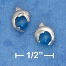 STERLING SILVER DOLPHIN POST EARRINGS W/ BLUE AGATE STONE