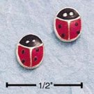 STERLING SILVER RED ENAMEL LADYBUG POST EARRINGS