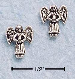 STERLING SILVER MINI GUARDIAN ANGEL POST EARRINGS