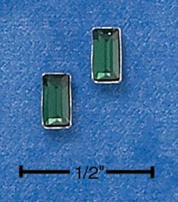 STERLING SILVER EMERALD CUT MAY BIRTHSTONE AUSTRIAN CRYSTAL POST EARRINGS