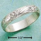 SWEET STERLING SILVER SCROLLED ANTIQUED 3MM BAND.