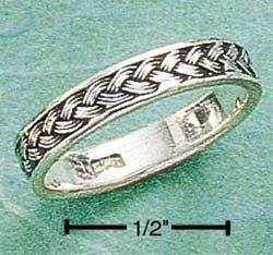 STERLING SILVER THIN ANTIQUED BRAID BAND