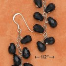 STERLING SILVER MULTI FACETED ONYX BRIOLETTE FRENCH WIRE DANGLE EARRINGS