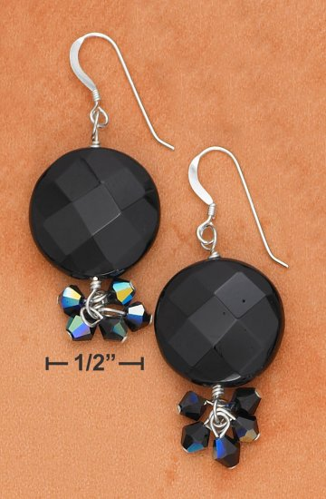 STERLING SILVER 18MM FACETED ONYX DISC FRENCH WIRE EARRINGS