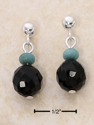 STERLING SILVER FACETED ONYX /TURQUOISE BEAD ON POST DROP EARRINGS