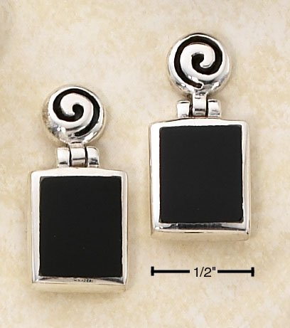 STERLING SILVER RECTANGULAR ONYX ON ROUND SWIRL HINGED POST EARRINGS