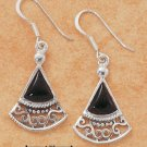 STERLING SILVER FANCY FAN DESIGN W/ ONYX FRENCH WIRE EARRINGS
