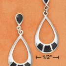STERLING SILVER TEARDROP POST DANGLE W/ ONYX INLAY