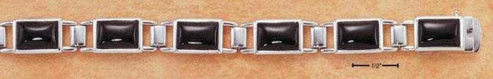 "STERLING SILVER 7.5"" BEZEL SET EMERALD SHAPED ONYX BRACELET"