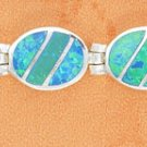 STERLING SILVER SYNTHETIC BLUE OPAL OVAL HINGED LINK BRACELET