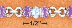 "STERLING SILVER 7.5"" 24-OVAL STONES (AMETH & BLUE TOPAZ) LINK STYLE BRACELET"