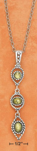 """STERLING SILVER 18"""" ROUND,  ROPED PERIDOT PENDANT"""