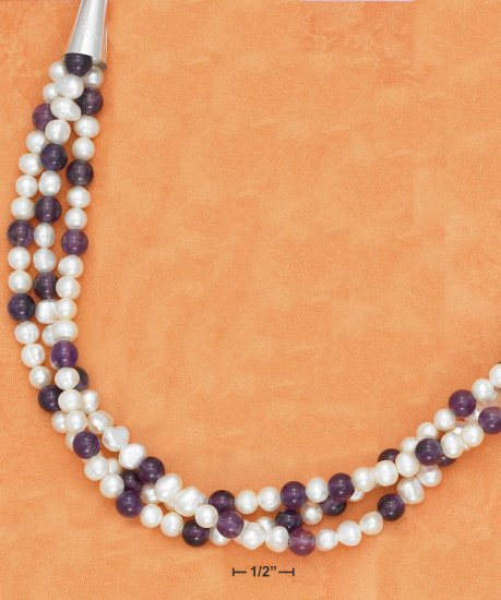 "STERLING SILVER 17""-21"" TRIPLE STRAND PEARL & AMETHYST BEAD NECKLACE"