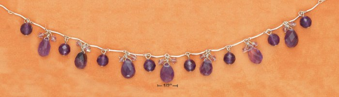 "STERLING SILVER 16"" BENT LINK FACETED AMETHYST BALL & TEAR NECKLACE"