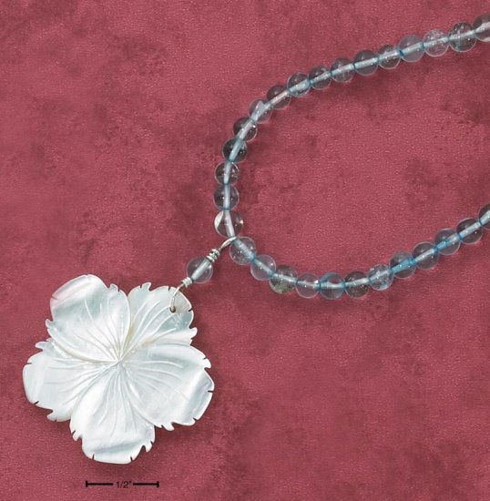 "STERLING SILVER 16"" STRUNG BLUE TOPAZ NECKLACE W/ SHELL FLOWER PENDANT"