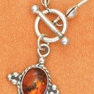 STERLING SILVER LIQUID SILVER CHOKER W/ 17 AMBER NUGGETS & OVAL PENDANT W/ TOGGLE