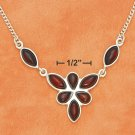 "STERLING SILVER 17"" MARQUIS & TEARDROP CHERRY AMBER DANGLE NECKLACE"