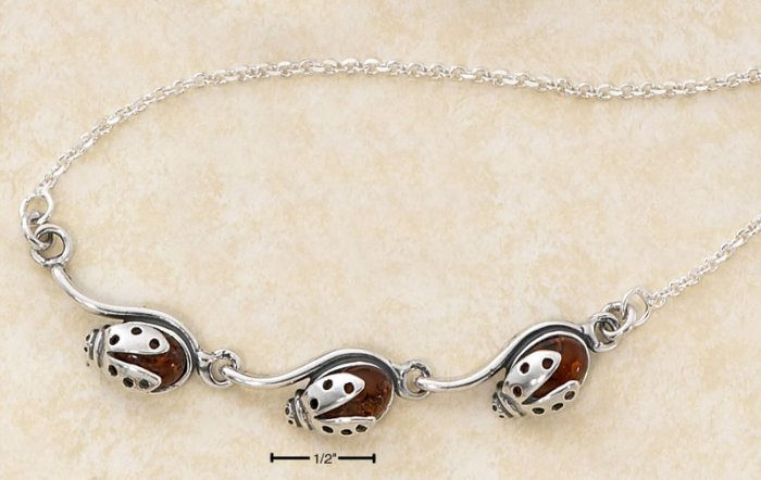 "STERLING SILVER 17"" TRIPLE HONEY AMBER LADYBUG NECKLACE"