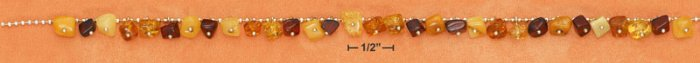 """STERLING SILVER 17"""" MULTICOLOR AMBER NUGGET DANGLE NECKLACE"""