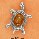 STERLING SILVER HONEY AMBER TURTLE PIN