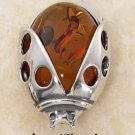 "STERLING SILVER HONEY AMBER LADYBUG PIN (APPROX 1"")"