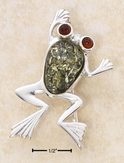 STERLING SILVER GREEN AMBER FROG PIN W/ HONEY AMBER EYES