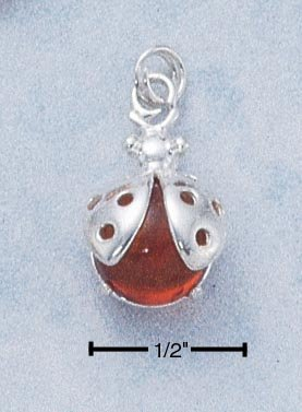 STERLING SILVER LADYBUG W/ AMBER PENDANT /18 IN CHAIN