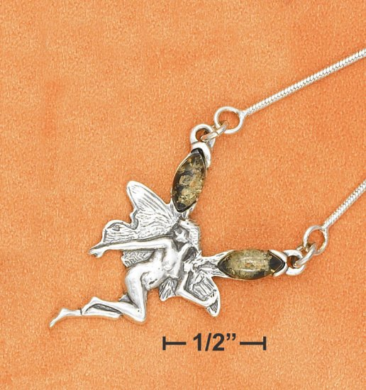 """STERLING SILVER 17"""" FAIRY W/ GREEN AMBER ON SNAKE CHAIN NECKLACE"""