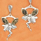 STERLING SILVER FAIRY W/ GREEN AMBER POST DANGLE EARRINGS