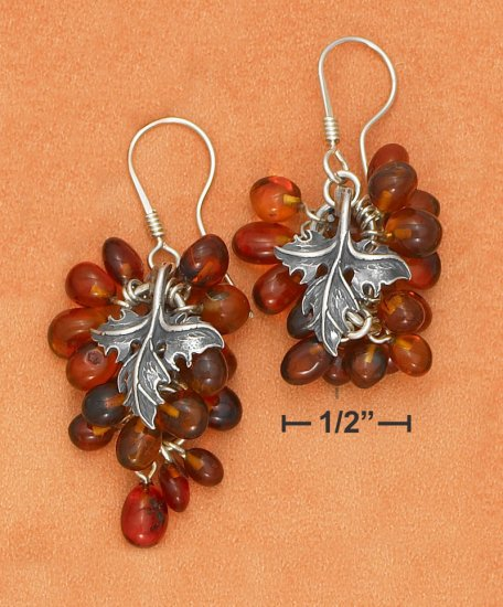 STERLING SILVER HONEY AMBER BEADED GRAPEVINE FRENCH WIRE EARRINGS