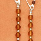 STERLING SILVER HONEY AMBER 5 BEAD KIDNEY WIRES EARRINGS