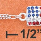 "10"" LT FIG W/ DANGLE AMERICAN FLAG W/ CRYSTALS ANKLET"