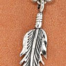 "STERLING SILVER 9""  ANKLET W/ TURQUOISE HESHI & FEATHER PENDANT"