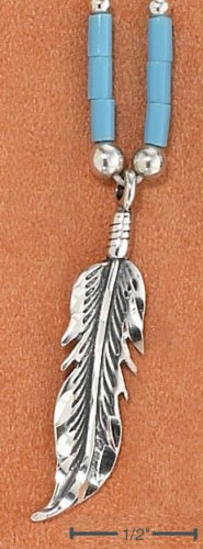 """STERLING SILVER 9""""  ANKLET W/ TURQUOISE HESHI & FEATHER PENDANT"""