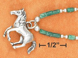 "STERLING SILVER 9""   ANKLET W/ MALACHITE HESHI & HORSE PENDANT"