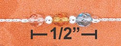 "STERLING SILVER 9.5-10"" ADJ PEACH,YELLOW, & BLUE CRYSTAL ANKLET"